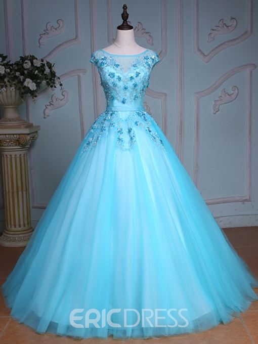 Ericdress Bateau Ball Gown Cap Sleeves Appliques Beading Crystal Sequins Court Train Quinceanera Dress
