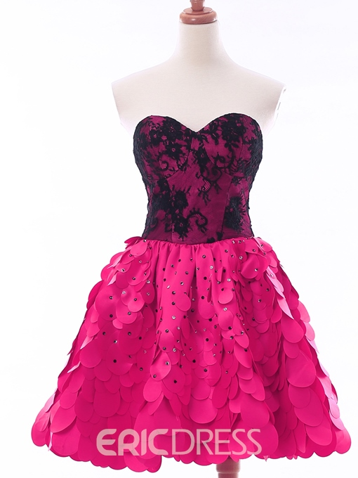 Ericdress A-Line Sweetheart Lace Beaded Short Homecoming Dress