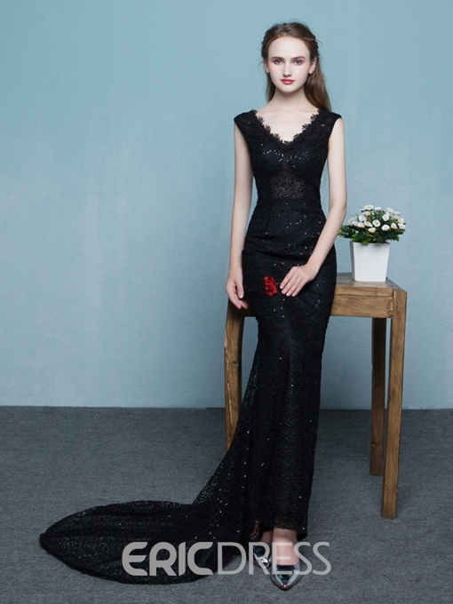 Ericdress Mermaid V-Neck Lace Court Train Evening Dress