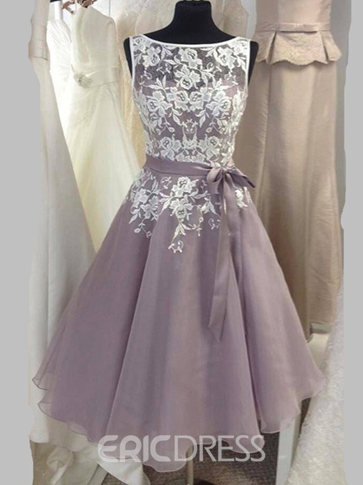 Ericdress Appliques A Line Tea Length Bridesmaid Dress