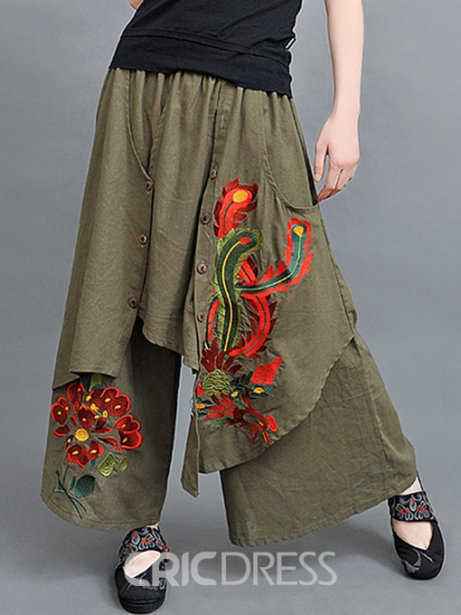 Ericdress Chinese Ethnic Pattern Wide Legs Pants