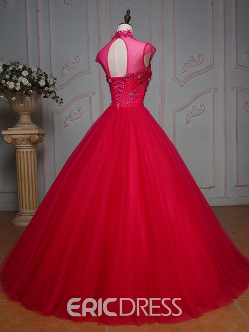 Ericdress High Neck Cap Sleeves Beaded Crystal Quinceanera Dress With Applique