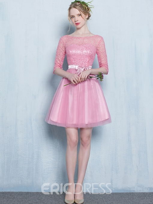 Ericdress A-Line Scoop Half Sleeves Bowknot Lace Sashes Mini Homecoming Dress