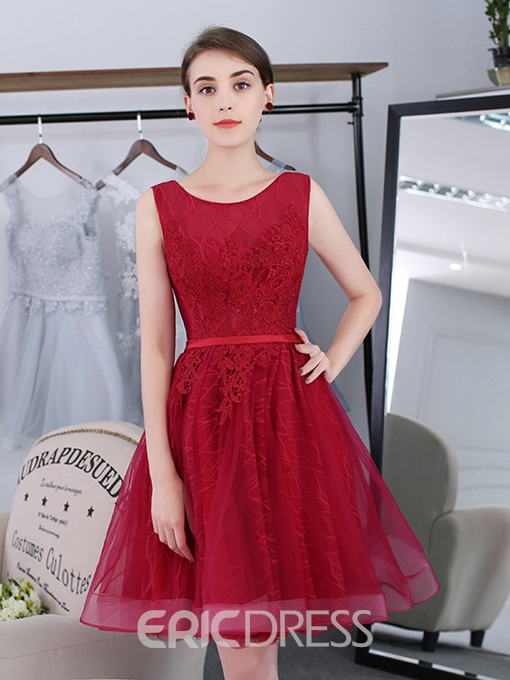 Ericdress A-Line Scoop Appliques Sashes Short Homecoming Dress