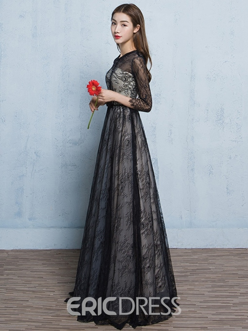 Ericdress A-Line Long Sleeves Scoop 3/4 Length Sleeves Button Lace Evening Dress