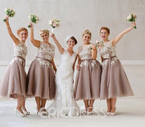 Ericdress Beautiful Bateau A Line Tea Length Bridesmaid Dress