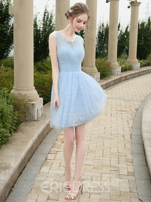 Ericdress A-Line Square Lace Pleats Short Homecoming Dress