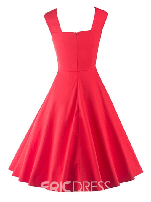 Ericdress Patchwork Spaghetti Strap Pleated A Line Dress