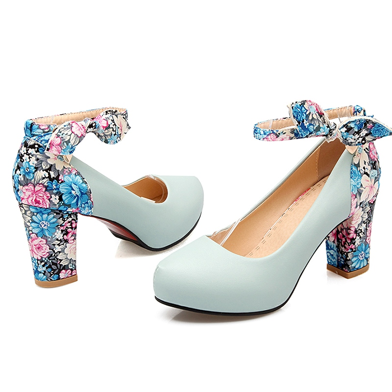 Ericdress Lovely Floral Patchwork Bowtie Decorated Pumps