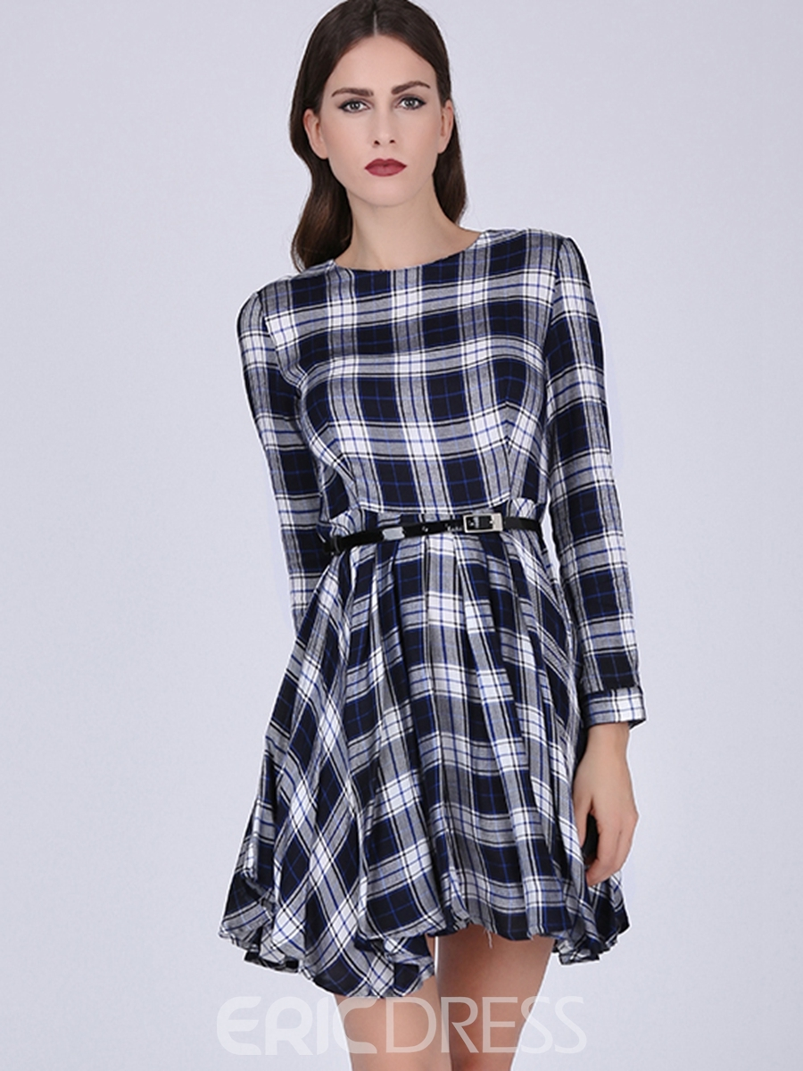 Ericdress Plaid A-Line Round Neck Casual Dress