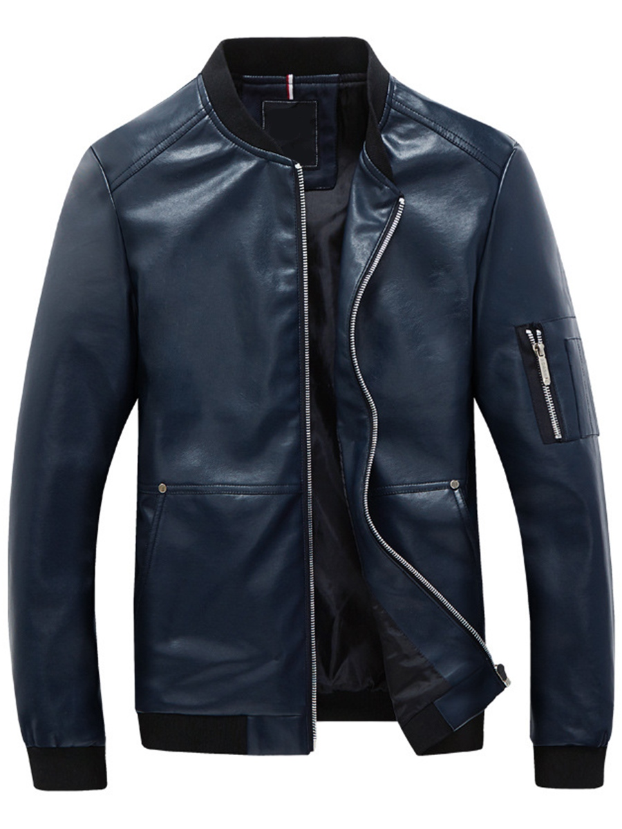 Ericdress PU Zip Thin Slim Men's Jacket