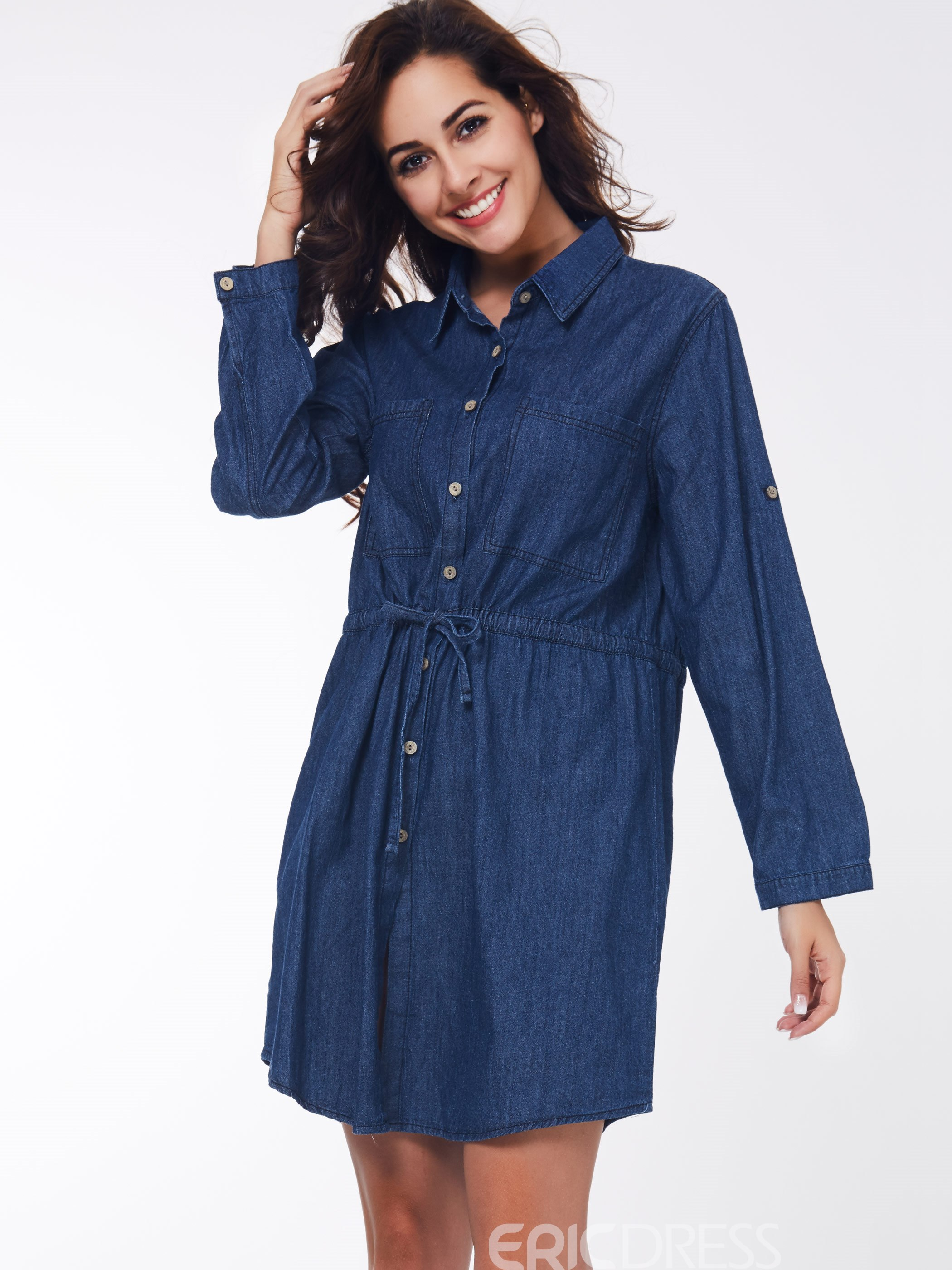 Ericdress Lace-Up Denim Long Sleeve Casual Dress