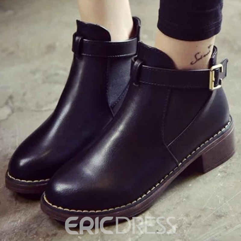 Ericdress PU Round Toe Buckles Chelsea Boots