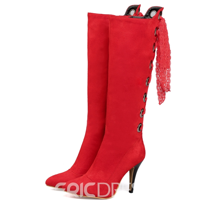 Ericdress Lace Pointed Toe Knee High Boots