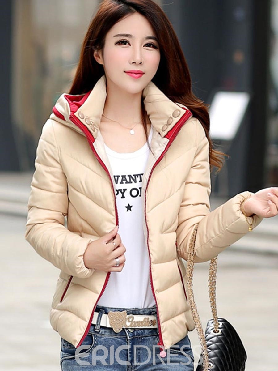 Ericdress Color Block Zipper Casual Cotton Coat
