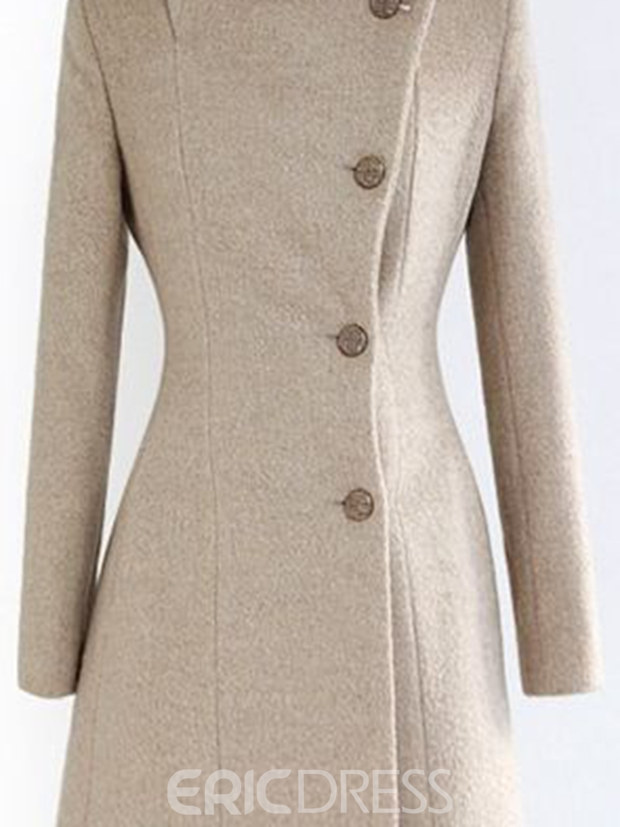 Ericdress Turtle Neck Oblique Button Coat