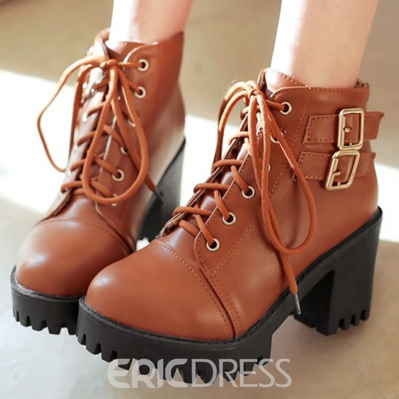 Ericdress Cool Buckles Round Toe Lace up High Heel Boots