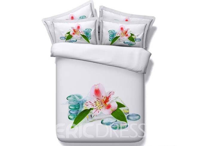 Exquisite Lily Printed Cotton 4-Piece 3D White Bedding Sets/Duvet Covers