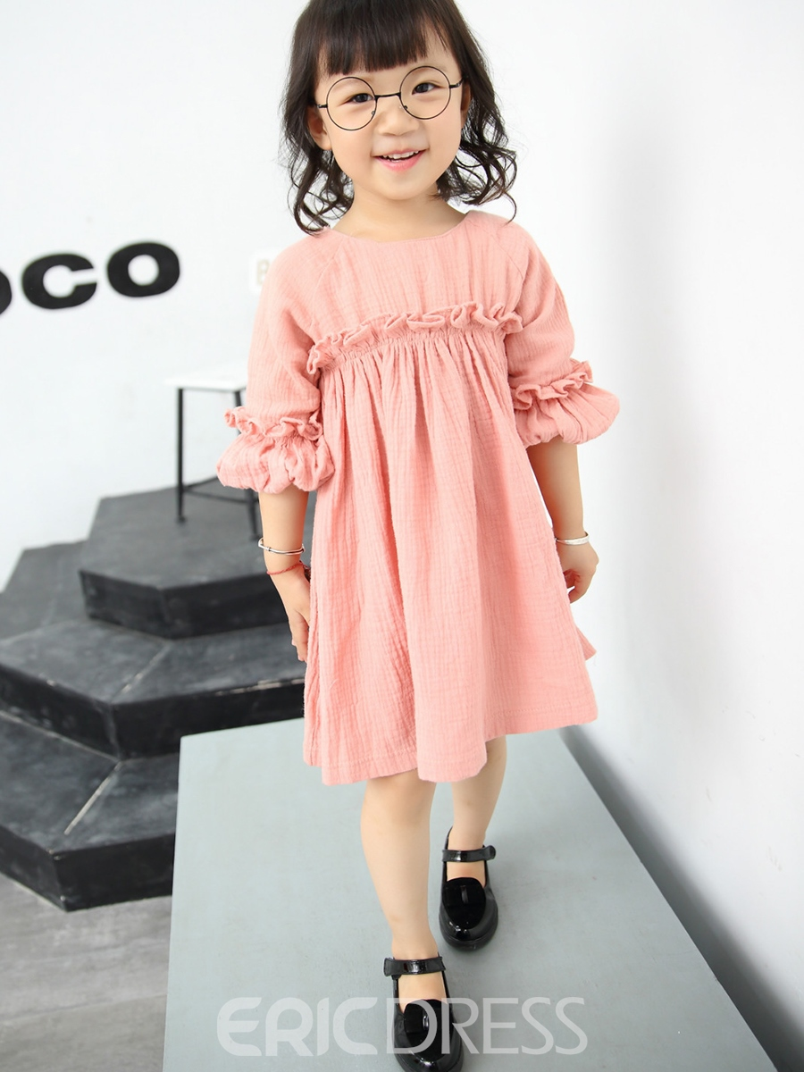 Ericdress Falbala Patch Pleated Tee Girls Dress