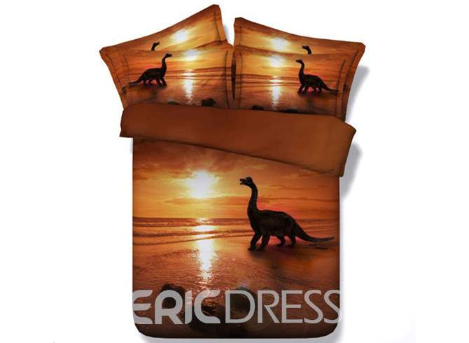 Dinosaur at Sunset Printed Cotton 4-Piece 3D Bedding Sets/Duvet Covers