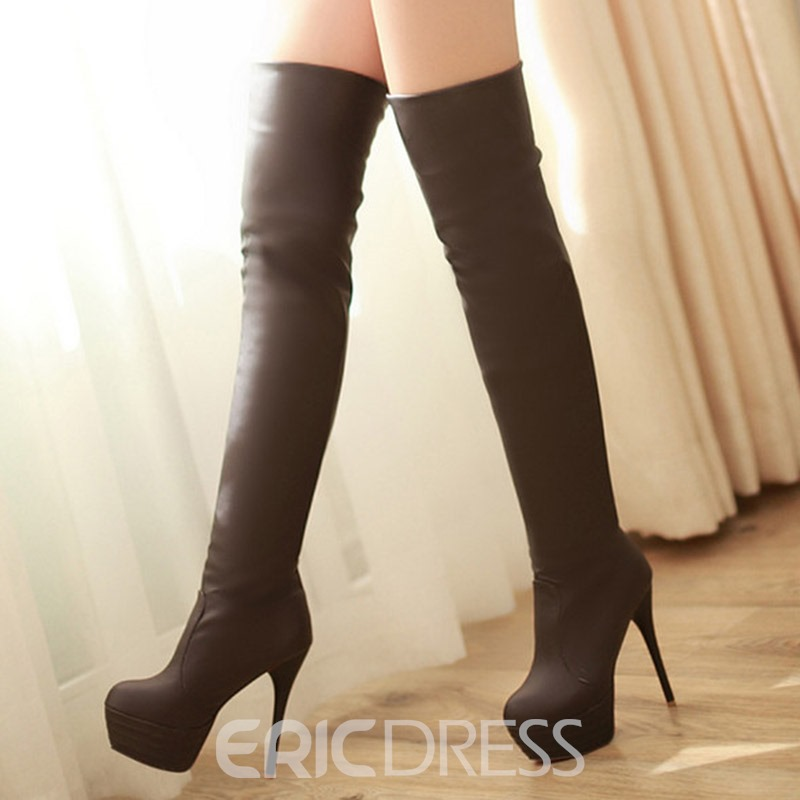 Ericdress plateforme PU Sexy Knee High bottes