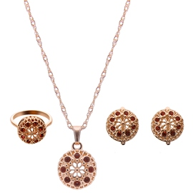 Ericdress Rot Strass verziert Gold Schmuck-Set