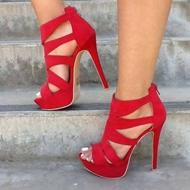 Ericdress Red Faux Suede Open Toe Stilettos Sandals
