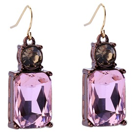 Ericdress Square Crystal Glass Earrings