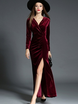 Ericdress Split Velvet Pleated Wrap Maxi Dress