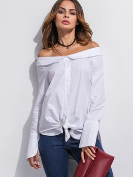 Ericdress Solid Color Loose Slash Blouse