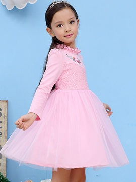 Ericdress Embroidery Lace Patch Falbala Collar Girls Dress