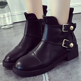 Ericdress Chic Button Decoration Square Heel Ankle Boots