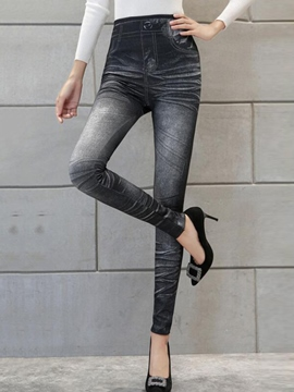 Ericdress Simple Faux Jean High-Waist Leggings Pants