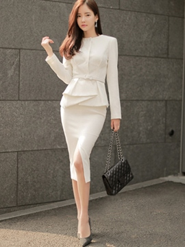 Ericdress Ladylike Split Skirt Suit