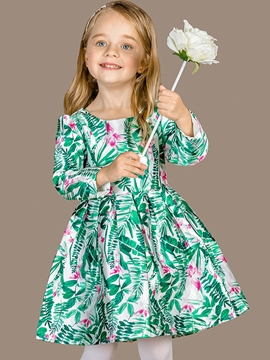 Ericdress Plants Printed Patchwork Pleated Girls Dress