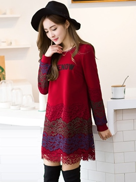 Ericdress Lace Patchwork Long Sleeve Casual Dress
