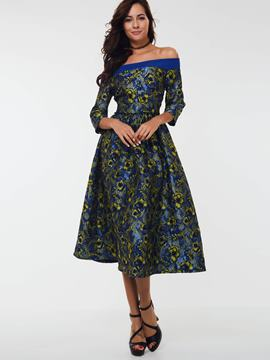 Ericdress Off-The-Shoulder Patchwork Embroidery A Line Dress