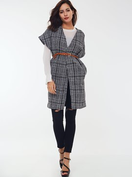 Ericdress Slim Plaid V-Neck Trench Coat