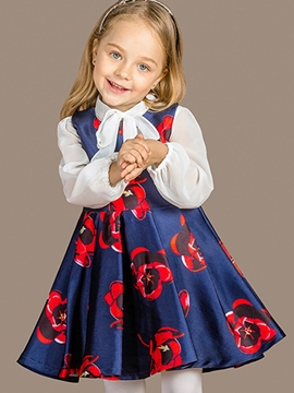 Ericdress Bow-Belt Collar Elastic&Sleeveless Floral Girls Dress