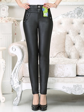 Ericdress Simple Thick PU Leggings Pants
