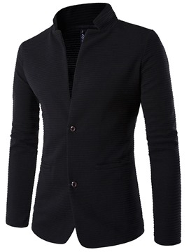 Ericdress Plain Stand Collar Casual Blazer With Elbow Patches