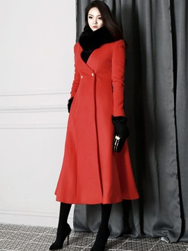 Ericdress Color Block Wave Slim coupe Coat