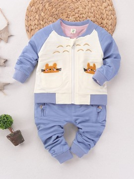 Ericdress Color Block Cartoon Dragonfly Patch Two-Piece Boys Outfit