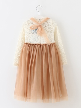 Ericdress See-Through Lace Patchwork Girls Dress