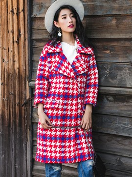 Ericdress Loose Plaid Coat