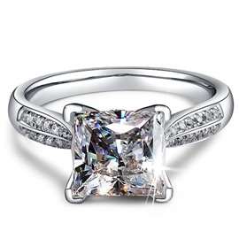 Ericdress Shining 2CT Princess Cut Platinum Plating Wedding Ring