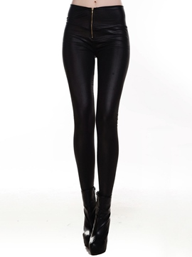 Ericdress Solid Color PU Leggings Pants