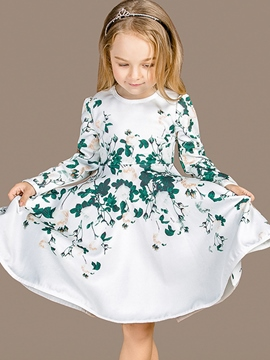 Ericdress Floral Print Princess Girls Dress