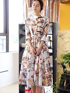 Ericdress Print Ethnic Patchwork Casual Dress