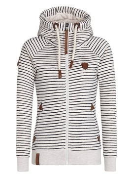 Ericdress Straight Stripped Lace-Up Hoodie